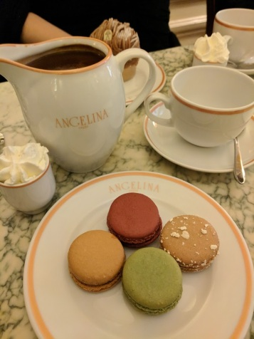 Hot chocolate and macarons at Angelina's